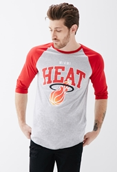 Forever 21 Miami Heat Baseball Tee Grey Red