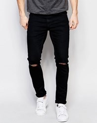 Only And Sons Black Jeans In Super Skinny Fit Black