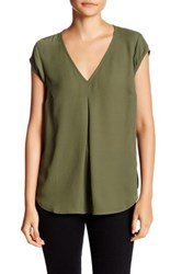 Daniel Rainn Short Sleeve V Neck Blouse Petite Green