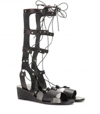 Ancient Greek Sandals Thebes Wedge Leather Gladiator Sandals Black