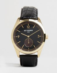 Ben Sherman Leather Watch In Black Black
