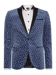 Label Lab Cox Floral Blazer With Contrast Peak Lapel Blue