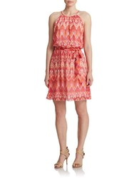 Guess Belted Halter Blouson Dress Red Multi