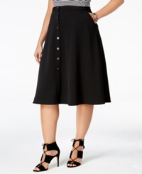 Ny Collection Plus Size Button Front A Line Skirt Jet Black