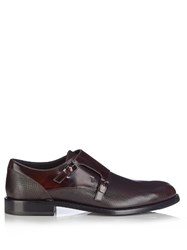 Tod's Fibbia Leather Monk Strap Shoes Burgundy