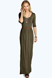 Boohoo Scoop Neck Elasticated Waist Maxi Dress Khaki