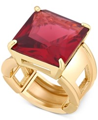 T Tahari Gold Tone Red Crystal Cocktail Stretch Ring