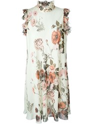 Giambattista Valli Floral Print Ruffle Neck And Sleeve Shift Dress Nude And Neutrals