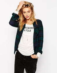 Abercrombie And Fitch Longline Checked Shirt Blueplaid