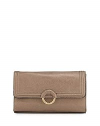 Neiman Marcus Faux Leather Ring Clutch Bag Pewter
