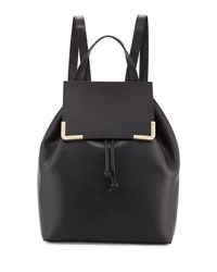 Neiman Marcus Saffiano Flap Drawstring Backpack Black