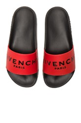 Givenchy Printed Rubber Slide Sandals In Red