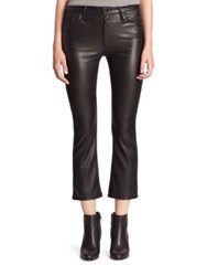Mother Insider Faux Leather Crop Flared Jeans Captured