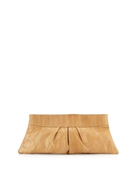 Lauren Merkin Eve Pleated Eel Skin Clutch Bag Tan