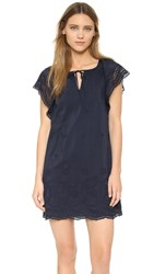 Madewell Embroidered Eyelet Moontide Dress Deep Navy