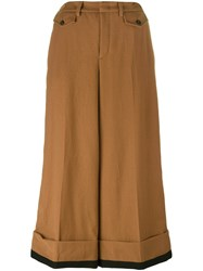 N 21 No21 'Embellished Wide Leg Cropped' Trousers Brown
