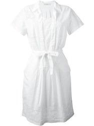 Paul Smith Red Ear Belted Broderie Anglaise Dress White