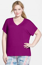 Plus Size Women's Hard Tail Slouchy V Neck Tee Berry Berry