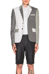 Thom Browne Fun Mix Blazer In Gray Checkered And Plaid