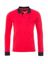 Eden Park Cotton Polo Shirt With Contrast Trims Red