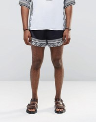 Jaded London Retro Shorts With Global Print Black