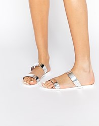 Park Lane Strap Slide Jelly Flat Sandals Si1 Silver 1