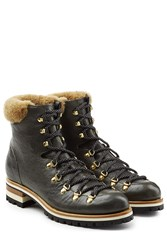 Rupert Sanderson Leather Mountaineering Boots Green
