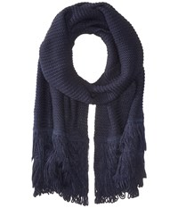 Echo Solid Fringy Muffler Navy Scarves