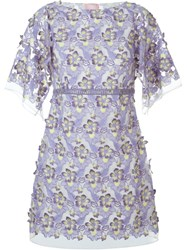Giamba Embroidered Sheer Floral Dress Pink And Purple