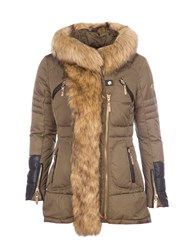 Relish Hooded Parka With Faux Fur Trims Green