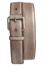 Tumi Men's Leather Belt Nickel Satin Brown
