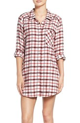 Make Model Women's Flannel Nightshirt Ivory Egret Rose Plaid