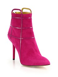 Charlotte Olympia Eileen Suede And Leather Cage Booties Pink