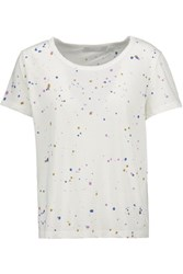 Kain Label Neve Paint Splattered Cotton And Modal Blend T Shirt White