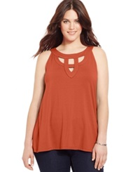 Inc International Concepts Plus Size Cutout Halter Top Indian Orange