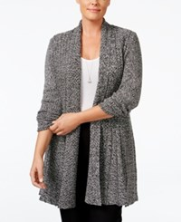 Ny Collection Plus Size Marled Pointelle Fan Back Cardigan Black Marl