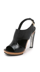 Rodarte Embossed Leather And Lucite Sandals Black