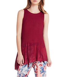 Bcbgeneration Chiffon Asymmetrical Pleated Hem Top Purple