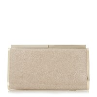 Dune Brixxton Patent Hard Case Clutch Bag Gold