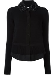 Moncler Embellished Collar Cardigan Black