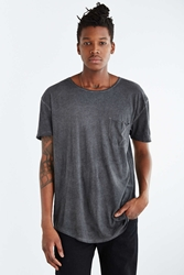 Feathers Oil Wash Long Scoop Neck Tee Charcoal
