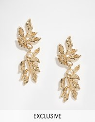 Designsix Leaf Drop Earrings Gold