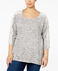 Styleandco. Style Co. Plus Size Lace Sleeve High Low Sweater Only At Macy's Gunmetal