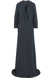 Maria Grachvogel Aditi Gathered Crepe Gown Blue