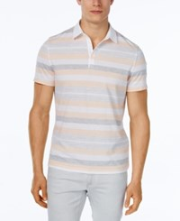 Alfani Men's Keen Stripe Polo Classic Fit Peachy Keen