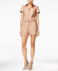 Guess Anja Faux Suede Military Romper Rugby Tan