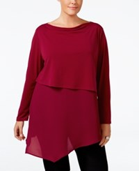 Ny Collection Plus Size Asymmetrical Mixed Media Tunic Wine Asia