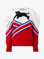 Gucci Knitted Jumper With Oversized Shoulders Cream Red Blue Black