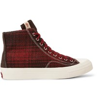 Visvim Skagway Suede Trimmed Checked Wool High Top Sneakers Claret