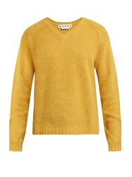 Marni V Neck Alpaca Blend Long Sleeve Sweater Yellow